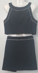 Black crop top with skirt ensemble